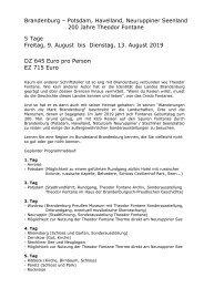 Brandenburg - 200 Jahre Theodor Fontane - Busreise 9. bis 13. August - KUS Reisen 73107 Eschenbach und 73035 Göppingen