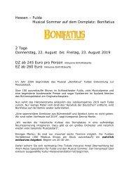 Hessen - Fulda - Musical Bonifatius auf dem Domplatz - 22. bis 23. August - KUS Reisen 73107 Eschenbach und 73035 Göppingen
