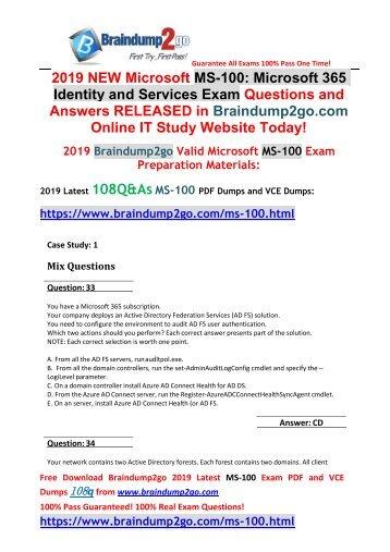 2019 New Braindump2go MS-100 Dumps PDF and MS-100 Dumps VCE 108Q Free Download(Q33-Q43)