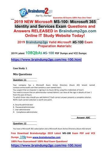 2019 New Braindump2go MS-100 PDF and MS-100 VCE Dumps 108Q Free Download(Q11-Q21)