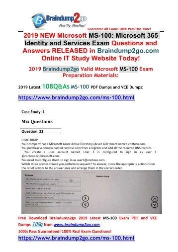2019 New Braindump2go MS-100 VCE and MS-100 PDF Dumps 108Q Free Download(Q22-Q32)