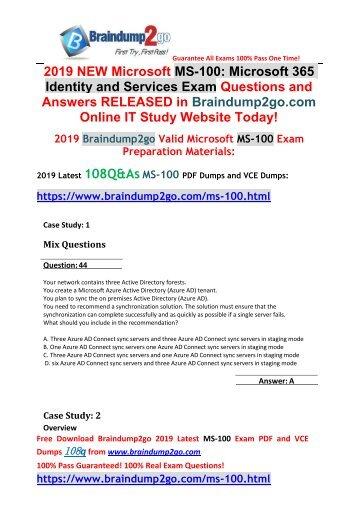 2019 New Braindump2go MS-100 Dumps VCE and MS-100 Dumps PDF 108Q Free Download(Q44-Q54)