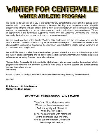 2019 Winter Centerville Elks Athletic Program