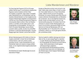 Liebe Wanderinnen und Wanderer - Aargauer Wanderwege