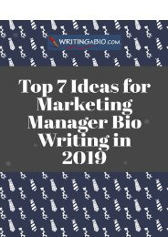 Top 7 Ideas for Marketing Manager Bio Writing in 2019