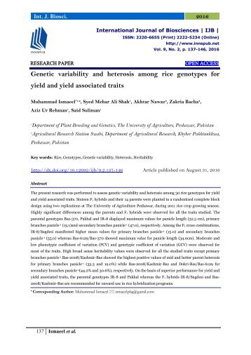 Genetic variability and heterosis among rice genotypes for yield and yield associated traits