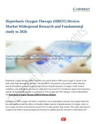 Hyperbaric Oxygen Therapy (HBOT) Devices Market Widespread Research and Fundamental study to 2026