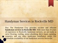 Professional Handyman Services in Rockville MD