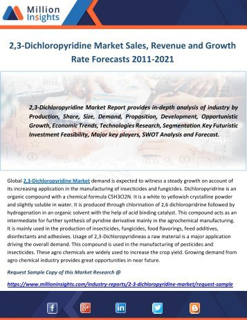 2,3-Dichloropyridine Market Sales, Revenue and Growth Rate Forecasts 2011-2021