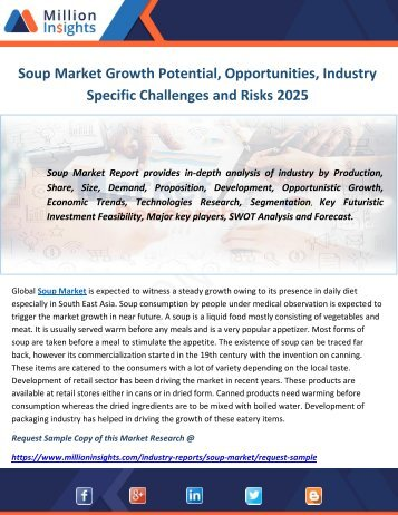 Soup Market Growth Potential, Opportunities, Industry Specific Challenges and Risks 2025