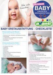 Checkliste Baby Erstausstattung
