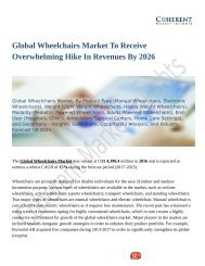Global Wheelchairs Market Positive Long-Term Growth Outlook 2018-2026