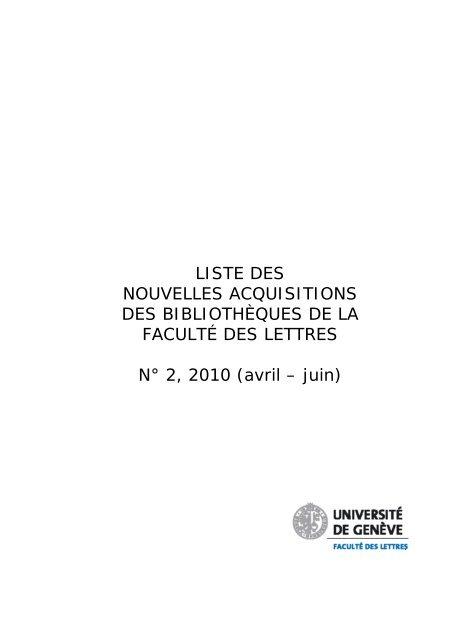 Liste Des Nouvelles Acquisitions Des Bibliotheques De La