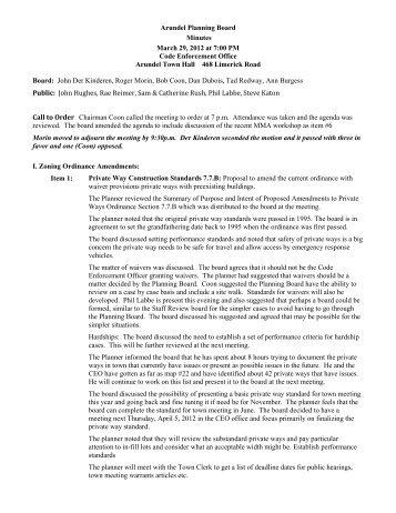Planning Board Minutes 03/29/12 - Arundel