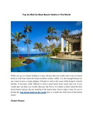 Top As Well As Best Beach Hotels In The World