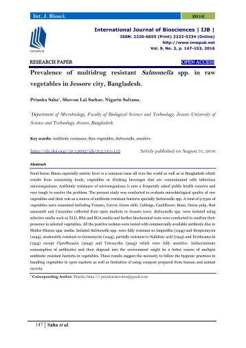 Prevalence of multidrug resistant Salmonella spp. in raw vegetables in Jessore city, Bangladesh.