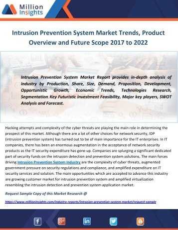 Intrusion Prevention System Market Trends, Product Overview and Future Scope 2017 to 2022