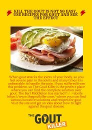 Kill the Gout is Not So Easy, Use Recipes for Gout and See the Effect