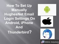 HughesNet Email Login settings on Android, iPhone and Thunderbird