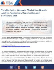 Variable Optical Attenuator Market Outlook 2018-2025|Industry Analysis, Opportunities, Segmentation and Forecast