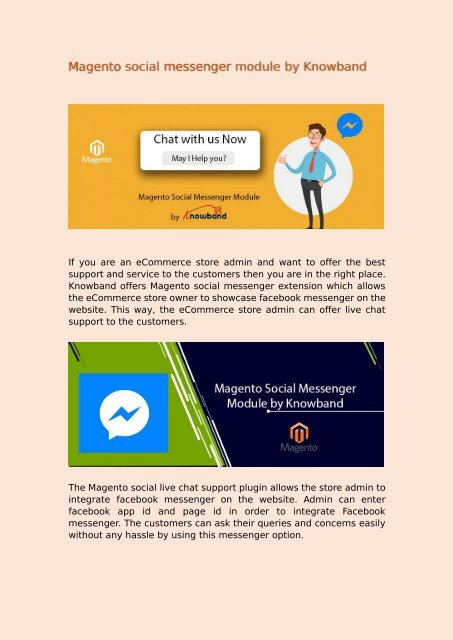 Magento social messenger module by Knowband