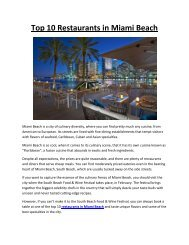 Top 10 Restaurants in Miami Beach