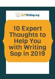 10 Expert Thoughts to Help You With a Writing SoP in 2019