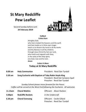 St Mary Redcliffe Church Pew Leaflet - February 24 2019