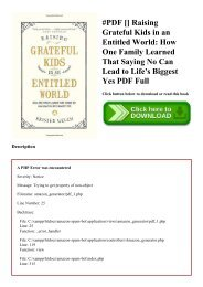 #PDF [Download] Raising Grateful Kids in an Entitled World How One Family Learned That Saying No Can Lead to Life's Biggest Yes PDF Full