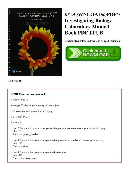 DOWNLOAD@PDF Investigating Biology Laboratory Manual Book PDF EPUB