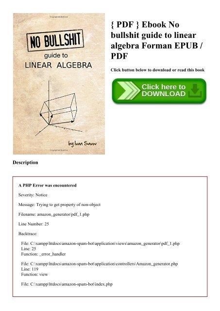 { PDF } Ebook No bullshit guide to linear algebra Forman EPUB PDF