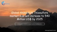 Global Ammonium Thiosulfate market size will increase to 540 Million US$ by 2025