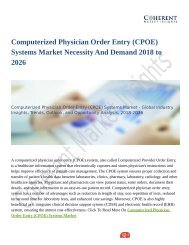 Computerized Physician Order Entry (CPOE) Systems Market Set for Rapid Growth and Trend, by 2026