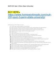 NUTR 251 Quiz 3 (Penn State University)