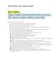 NUTR 251 Quiz 4 (Penn State University)