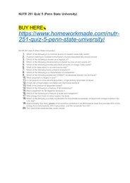 NUTR 251 Quiz 5 (Penn State University)