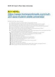 NUTR 251 Quiz 6 (Penn State University)