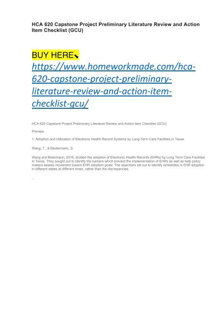 HCA 620 Capstone Project Preliminary Literature Review and Action Item Checklist (GCU)