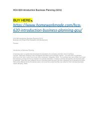 HCA 620 Introduction Business Planning (GCU)