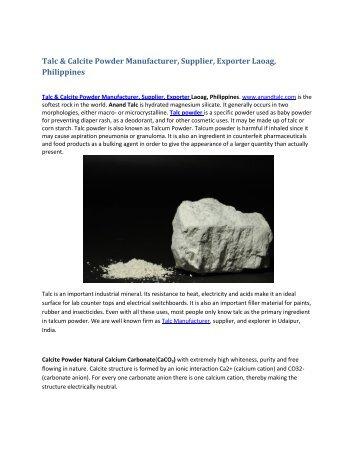 Talc & Calcite Powder Manufacturer, Supplier, Exporter Laoag, Phillipine