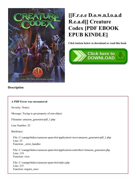 F r e e D o w n l o a d R e a d]] Creature Codex [PDF EBOOK