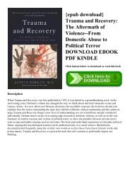 {epub download} Trauma and Recovery The Aftermath of Violence--From Domestic Abuse to Political Terror DOWNLOAD EBOOK PDF KINDLE