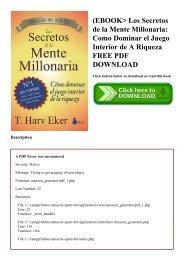 (EBOOK Los Secretos de la Mente Millonaria Como Dominar el Juego Interior de A Riqueza FREE PDF DOWNLOAD