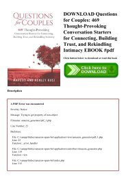 DOWNLOAD Questions for Couples 469 Thought-Provoking Conversation Starters for Connecting  Building Trust  and Rekindling Intimacy EBOOK #pdf