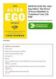 DOWNLOAD The Alter Ego Effect The Power of Secret Identities to Transform Your Life PDF