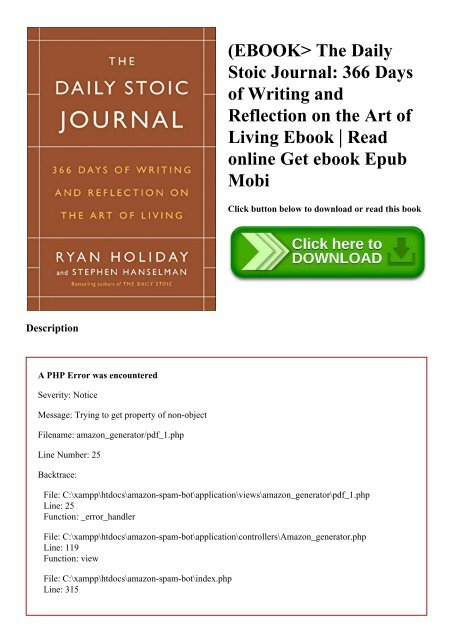 EBOOK The Daily Stoic Journal 366 Days of Writing and