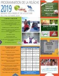 Programmation de la relâche scolaire 2019