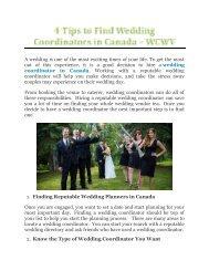 4 Tips to Find Wedding Coordinators in Canada - WCWV