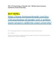 PSY 116 Psychology of Gender Unit 1 Written Exam Answers (California Coast University)