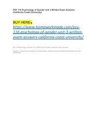 PSY 116 Psychology of Gender Unit 3 Written Exam Answers (California Coast University)